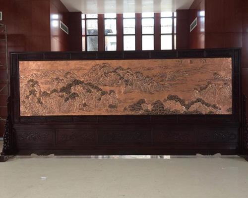 陕西吴堡县人大5.8米×2.6米祖国颂、沁园春.雪屏风