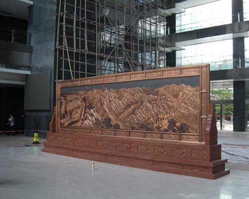 深圳检验检疫局制作的大理石铜框屏风