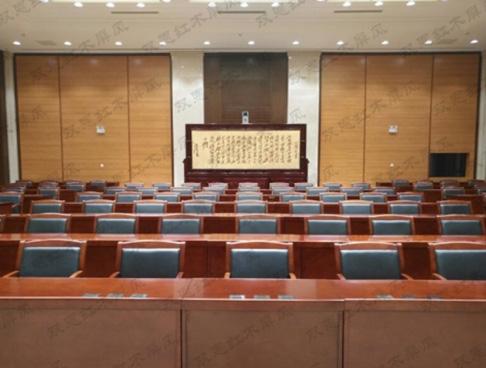 甘肃省某单位4米×2.68米迎客松、沁园春.雪紫铜浮雕屏风