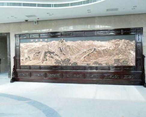 安徽五一政务宾馆定做的7.56x3米万里长城、沁园春·雪屏风