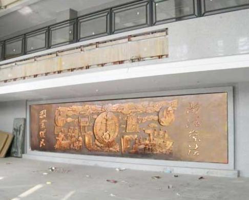 湖南双峰县法院定做的9x2.3米大型锻铜浮雕