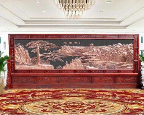 甘肃省检察院定制的红木屏风5.8x2.4米国画和谐颂、国画牡丹图、迎客松、万里长城