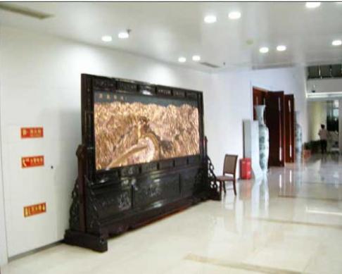 北京西直门宾馆定制的3.86x2.38米万里长城、为人民服务屏风