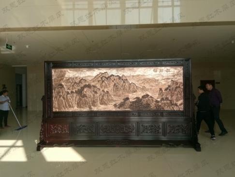 江苏连云港4.2米×2.38米祖国颂、沁园春雪紫铜浮雕屏风