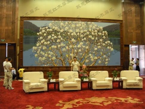 北京某单位会议室定做的9.06米长×5米高的红木屏风
