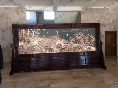 河北承德某单位4.54米×2.3米和谐富贵紫铜浮雕红木屏风