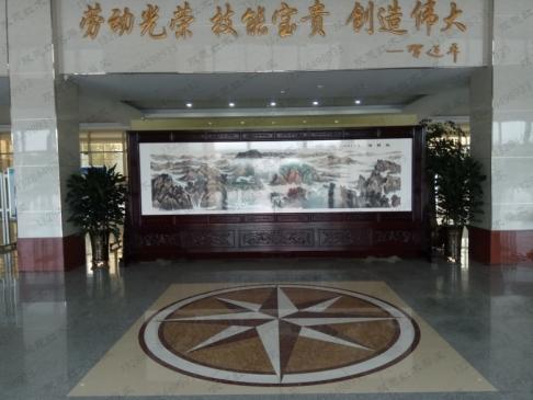 山东泰安东平县职业学校5.8米2.5米国画紫铜浮雕屏风