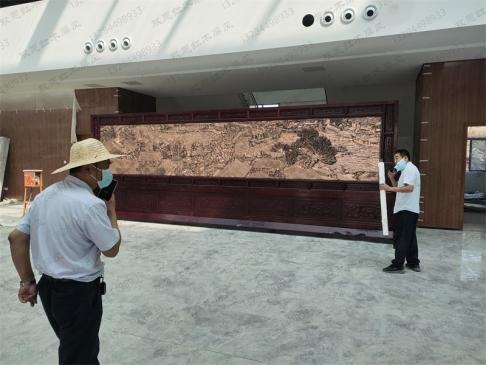 山东临沂生态园7.38米×2.6米万里长城、清明上河图屏风