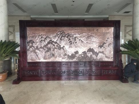 山西中钢能源煤化有限公司5米×2.8米祖国颂、沁园春雪红木紫铜浮雕屏风