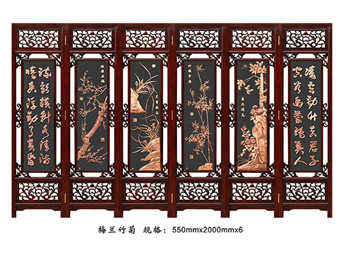 实木屏风D019六扇折叠梅兰竹菊