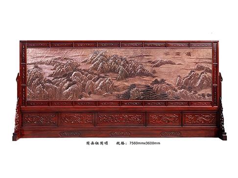 红木屏风 D001 祖国颂国画
